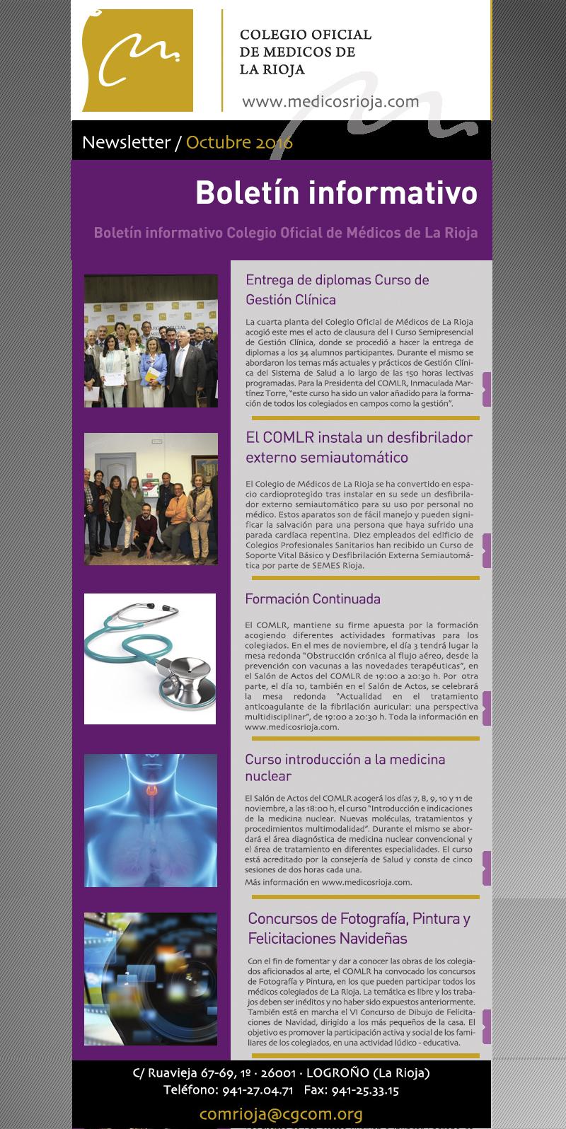 Newsletter de octubre del Colego Oficial de Médicos de La Rioja