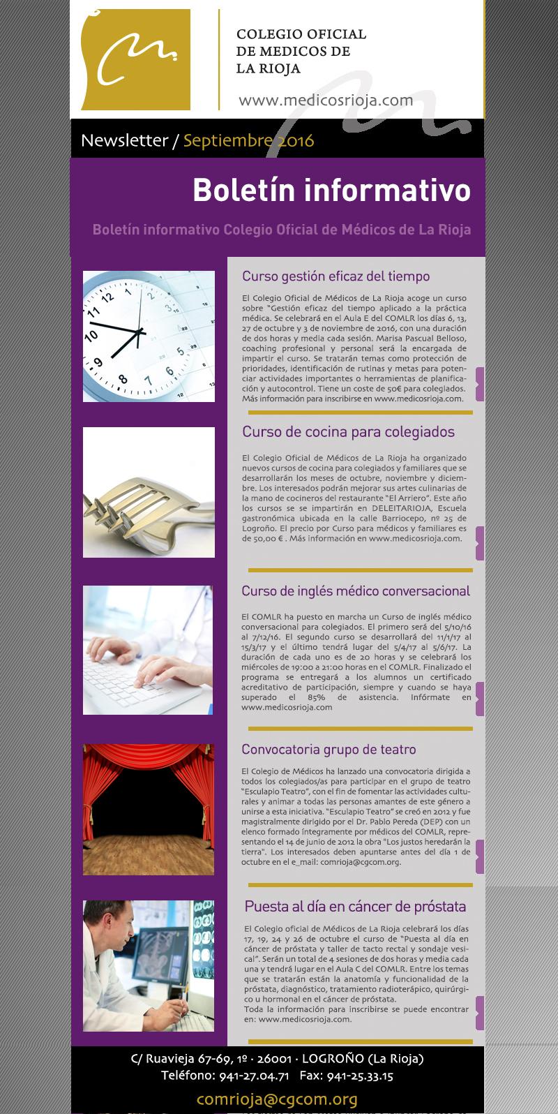 Newsletter de septiembre del Colegio Oficial de Médicos de La Rioja