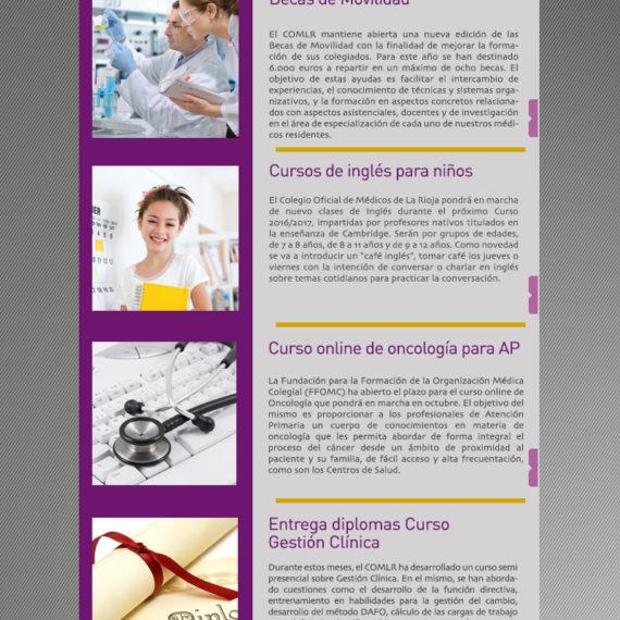 Newsletter de julio de 2016 del Colegio Oficial de Médicos de La Rioja
